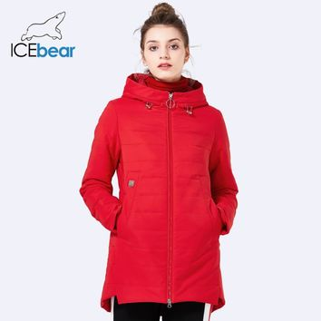 ICEbear2018 new women jacket spring padded long pocket design fall warm coat fashion brand women's fashion  jackets GWC18129D