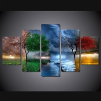Change Of Seasons Beautiful 5-Piece Wall Art Canvas