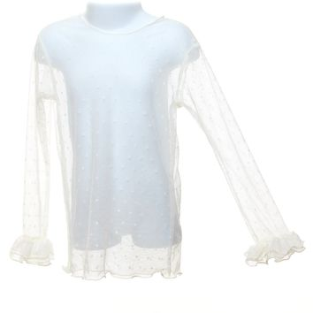 Magpie & Mabel Girl's Long Sleeve Sheer Dot Top