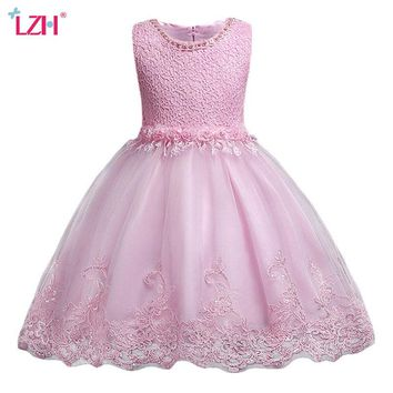 LZH 2018 Summer Baby Toddler Girls Dress Kids Girls Wedding Lace Princess Dress Infant Party Dresses For Girls Children Clothing