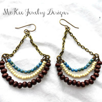 Wood, Czech Picasso glass and seed bead glass with bronze metal earrings.