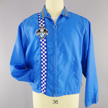 1960s - 1970s Vintage / BMW Racing Jacket / Blue Windbreaker / BMW Motorcycles / Blue Checker Stripe / Bonner Mfg / Size L / Made in USA