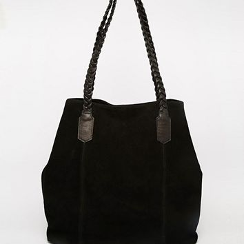 ASOS Suede Shopper Bag With Plaited Strap at asos.com