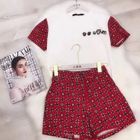 LV Women Casual Short Sleeve Top Shorts Two-Piece
