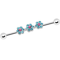 Aqua Pink Gem Surgical Steel Delicate Flowers Industrial Barbell | Body Candy Body Jewelry