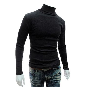 ZAPUYO 2016 New Arrival Solid Sweater Men Casual Knitted Sweaters Mens Turtleneck Long Sleeve Pullovers Blusa Masculina XXL