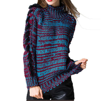 Women's Long Sleeves Thick Knitted Pullover Sweater Jumper