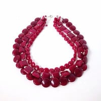 Ruby jade necklace, red necklace, pink, gemstone, mixed shape bead necklace, statement necklace, multi strand, coin beads