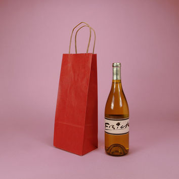 Red ShadowStripe Twisted Handle Wine Liquor Bottle Gift Favor Bags, 5.5 x 3 x 12.5 inches, 25 pack