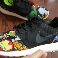 Nike Roshe Run Black White Comic Superheroes V5 Edition Custom Men & Women
