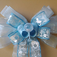 Baby Shower Bow, Baby Blue Bow, Baby Gift Bow, Birth Announcement Hospital Door  Decoration, Booties Gift Decoration Bow