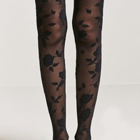 Semi-Sheer Floral & Baroque-Inspired Tights