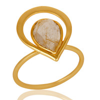 18K Gold Plated Rutilated Quartz Sterling Silver Art Deco Style Designer Ring
