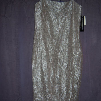 Vintage DONNA MORGAN Dress GOLD Floral With Tags! Retail was 140! Size 6