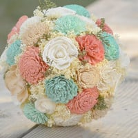 Large Wedding Bouquet Ivory Mint Coral Pink Sola Flowers and dried Flowers Bridal or Bridesmaid Keepsake