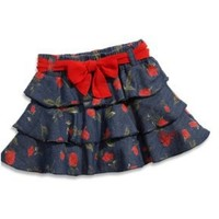GUESS Infant Girls Dark Stone Rose Print Tiered Skirt (24M)