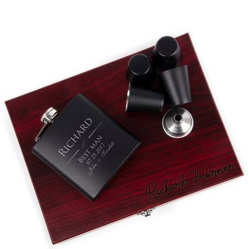 Groomsmen Gift, Flask Set with Rosewood Presentation Box - Groomsmen Flasks, Personalized Groomsmen Flasks, Flask For Groomsmen #3
