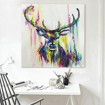 Deer head painting Acrylic painting on canvas art heavy texture large wall art Home Decor hand painted Original painting cuadros abstractos