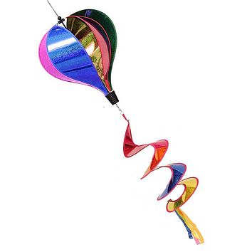 Rainbow Sequins Windsock Striped Air Balloon Wind Spinner Outdoor Yard Decor Kids Toy