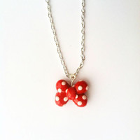 Minnie Mouse Bow Red and White Polka Dot by aWishUponACharm