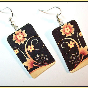 "Digital Art Earrings 1"" W x 1 1/2"" L Polymer Clay Gold on Black Floral Image Transfer  Design Handcrafted Dangle"