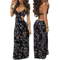 Fashion Retro Floral Print Deep V Hollow Sleeveless Backless Halter Maxi Dress