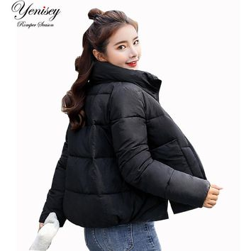 2018 Slim Winter Style Big Bags Fashion Girls Cotton Wear Coat Student Winter Jacket Women Coat Parka 917