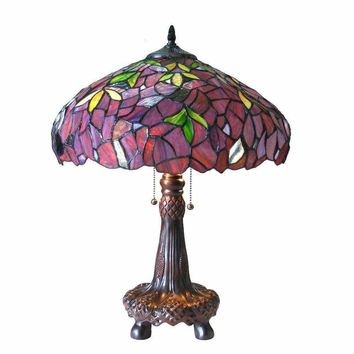 "Katie, Tiffany-Style 2 Light Wisteria Table Lamp 16"" Shade"