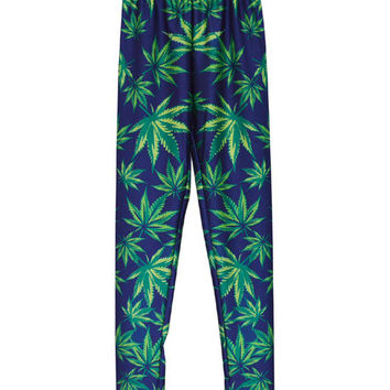 Green Leaves Print Leggings