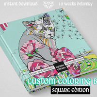 Large Custom Coloring Book 30x30cm / 12x12in, Animal inspired, botanical, plants, cats, dogs,universe, fantasy,surreal, Adult coloring book