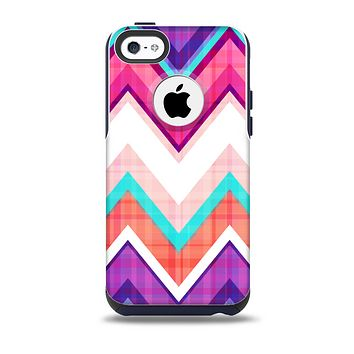 The Vibrant Teal & Colored Chevron Pattern V1 Skin for the iPhone 5c OtterBox Commuter Case