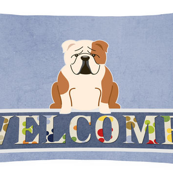 English Bulldog Fawn White Welcome Canvas Fabric Decorative Pillow BB5706PW1216