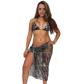 Women's Long Camo Sarong True Timber Beach Cover Up Made in the USA