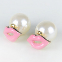 Pair of Trendy Faux Pearl Embellished Lip Shape Earrings For Women