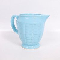 Vintage Rare Robinson Ransbottom Blue Pitcher RRP Co Roseville OH 308 Pottery Water Milk Pitcher Handled Creamer