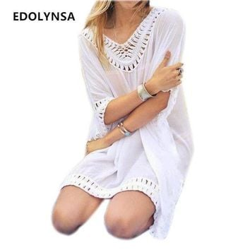 PEAPGC3 New Arrivals Rayon Beach Cover up Women Swimwear White Dress Tunics Kaftan Crochet Beachwear Ethnic Women Robe de Plage #Q231