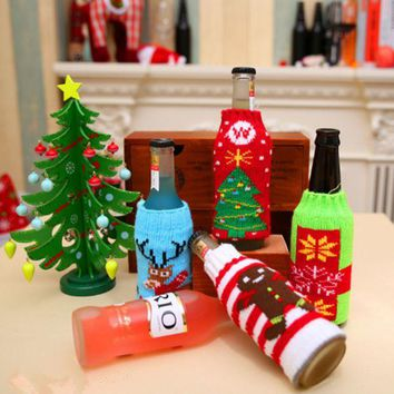 VLXZGW7 Christmas Home Supplies Cartoon Knit Beer Bottle Cover Decorations