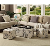 Sheridan Storage Bench with 2 Side Ottomans
