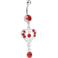 Red Gem Drops of Love Heart Dangle Belly Ring | Body Candy Body Jewelry