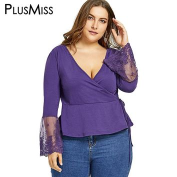 PlusMiss Plus Size 5XL Sexy Lace Panel Long Sleeve Surplice Tops Women Clothing Deep V Neck Bell Flare Sleeve Blouse Shirt 2017