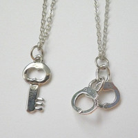 handcuff and key charm couple pendant necklaces / double layered necklace