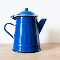 French country dark blue enamel kettle - French vintage Coffee pot or teapot - French kitchen home decor