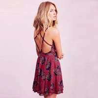 Red Wine Floral Print Strappy Criss Cross Back Skater Dress