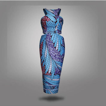 African print cut out dress, knee length, african clothing, african dress, the african shop, african wedding dress, african outfit