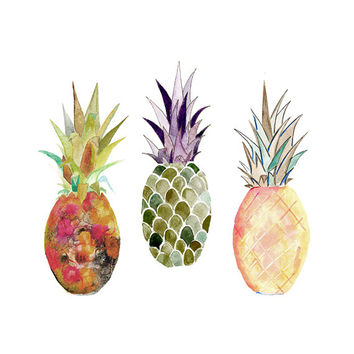 Pineapple Illustration. Pineapple Print. Watercolor Pineapple.