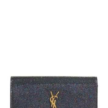 Saint Laurent Large Monogram Sparkle Calfskin Leather Wallet on a Chain | Nordstrom