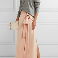 Elizabeth and James - Almeria satin wrap maxi skirt