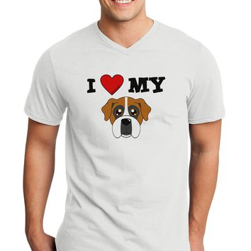 I Heart My - Cute Boxer Dog Adult V-Neck T-shirt by TooLoud