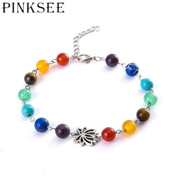 Summer Style Pretty Rainbow Chakra Multi-Coloured Beaded Chains Anklet For Women Girls Ankle Bracelet Reiki Fashion Jewelry