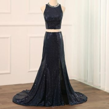 Women Sequin Two Piece Prom Dresses Long Mermaid Evening Party Gowns Navy Color